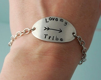 Love My Tribe Bracelet / Pewter Bracelet / Adjustable Bracelet