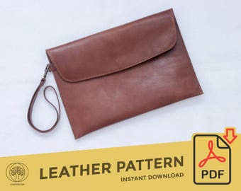Leather Clutch \\ Template Pattern PDF \\  Leather Crafting \\ PDF Pattern \\ Leathercraft Pattern \\ Leather Pattern \\ DIY pattern