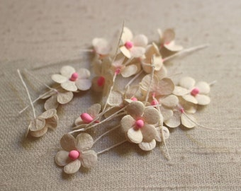 pink and white paper craft flowers