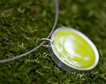 Green pendant necklace, Chartreuse glass marble pendant, green glass jewelr 014