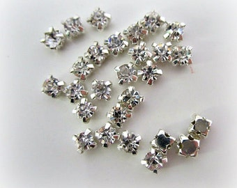 3mm Sew on Rhinestones. 3mm Rhinestones.  50 Pcs