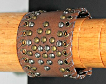 Brown Recycled Faux Leather Wrist Band,Brown Recycled Wrist Band,Recycled Stud Wrist Band,Brown Recycle Unisex Wrist Band,Unisex Wrist Band