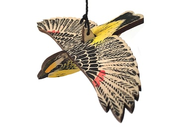 Striated Pardalote Mobile, Hand Printed Wooden Lino Printed Hanging Bird, Australian Native Bird,