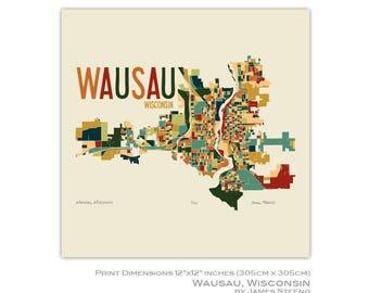 Wausau, Wisconsin Art Map Print (Marathon County) by James Steeno