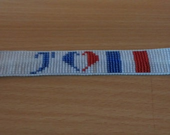 Loom beade bracelet, I love france. J'adore la France. flag of France. Beaded flag