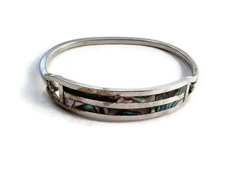 Vintage Mexican Sterling Silver Inlaid Abalone Hinged Bracelet, Signed Alpaca Mexico. Striped Design. Vintage Southwestern Style. 1970s.
