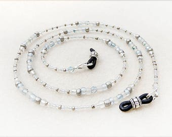 Brillen-Kette, Neutral, Silber, grau, grau, Frost, Glas, Perlen, Eis Blau Kristalle, Jack Frost, handgemacht, Geschenk für Frau, Geschenk für Mutter