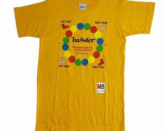 Vintage 90s Twister The Game That Ties You Up In Knots A Milton Bradley Game Very Rare T Shirt