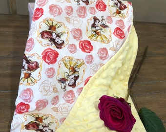 Minky Belle and roses baby blanket