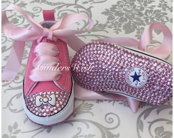 Pink Bow Baby converse/Bow converse/twinkle toes/ bling toe converse /  flowergirl