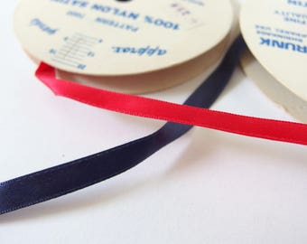 Over 8 Yards of Red and Blue Satin Ribbon, NOS