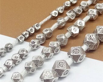 40 Karen Hill Tribe Silver Faceted Beads with Imprint, Hexagon Bead, Higher Silver Content than Sterling Silver 1.5mm 2mm 2.5mm 3.5mm -TR146