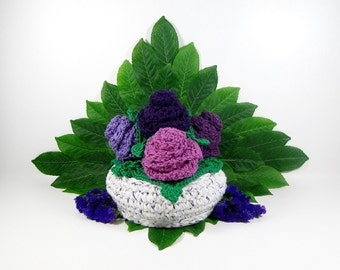 Flower Gift Basket Crochet Pattern #312 - Basket Crochet Pattern - Dishcloth Crochet Pattern - Coaster Crochet Pattern -Instant Download PDF