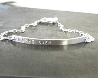 Skinny Nameplate Bracelet, Personalized Jewelry, Sterling Silver Bracelet, Gold Bar,  Name Bracelet, Gold, Rose Gold Bar Bracelet,