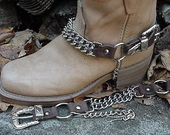 Western Boots BOOT CHAINS Brown Leather,  Two  Steel Chains