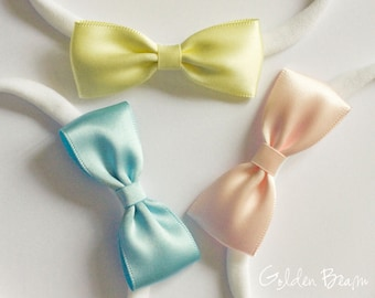 Baby Gift Set - Pastel Blue, Pastel Yellow and Light Pink Small Satin Bow Handmade Headbands - Baby to Adult Headbands