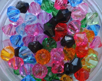 6mm acrylic faceted bicone bead mix x 100 AB038