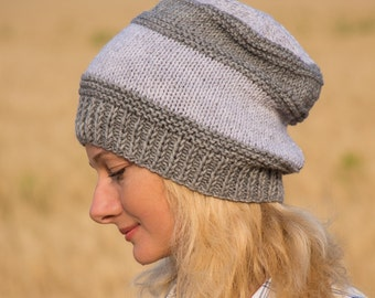 Knit gift for women gray hat women wool hat women knitted hat women beanie hat knit beanie hat gray beanie women slouchy beaine hat women