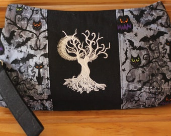 Spooky Ghostly Embroidered Wristlet Clutch Purse - Black White Gray Bats - Small Coraline- Ready to ship