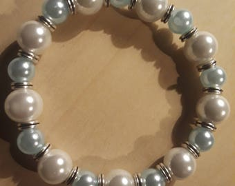 Light Blue and White Pearls with silver spacers