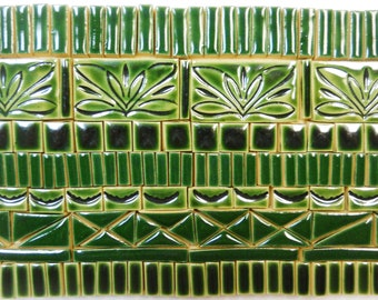 165+ Mosaic Tiles Handmade Ceramic CraftingTiles Stoneware Art Tiles Dark Green Tones Glazed Craft Tiles Assortment #2