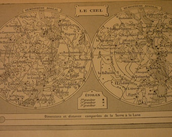 French Lithograph - Star Chart - Le Ciel 1920s engraving - original page from French Dictionary