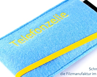"""Mobile phone pouches with the inscription """"Telephone booth"""" made of high-quality wool felt"""