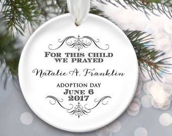 For this child we have prayed, Adoption Gift, Adoption Ornament, Personalized Christmas Ornament, Baby Girl Gift or Baby Boy Gift OR824