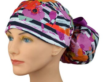 The Perfect Fit Ponytail Scrub Hat Original Design Best Fit Ever Pony Pouch- Fusion Spice