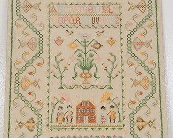 ABC SAMPLER Needlework House People Flowers dated 1969 MOUNTED