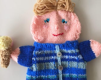 Knitted Handpuppet, let summer start with a nice ice cream.