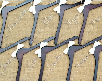 Set of 9 Personalized Bridal Hangers, Custom Hanger, Wedding Party Hangers, Bridesmaid Gift, Bride Hanger, Mrs Hanger
