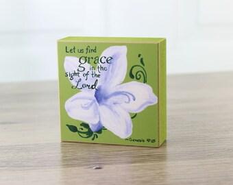 Lily Grace Block Art Blossom Block