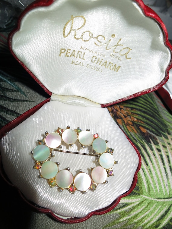 Gorgeous vintage mother of pearl and diamante brooch