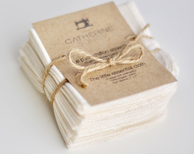 The little essential cloth - Small soft organic cotton jersey washcloths or baby wipes - 10 pack