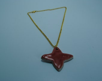 Handcrafted Ceramic Necklace   Coral Pendant with Gold Chain