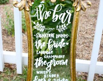 Wedding mirror menu / handlettered mirror / dessert menu / wedding sign / gold mirror / chalkboard sign / vintage mirror / gold ornate
