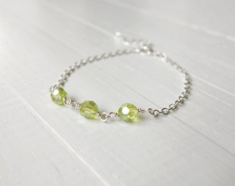 Chain bracelet lime green beads sparkly bracelet dainty jewelry green bracelet gift for women
