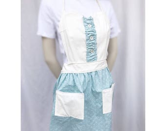 Vintage mint and cream sweetheart apron