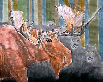 Moose vs Wolves (small watercolor painting)