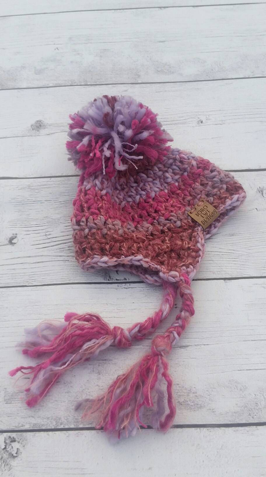 Baby Handspun Pink/Purple Crochet Earflap Pom Pom Hat, Merino and Mohair Unique Baby Hat, Boho Baby, Photo Prop, Baby Earflap Hat with Pom