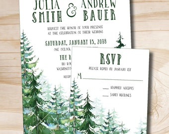 Watercolor Pine Tree Wedding Invitation and Response Card Invitation Suite