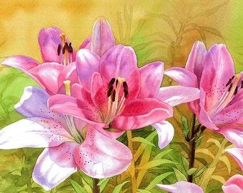 Pink lilies, GICLÉE PRINT of my original painting, beautiful flowers, watercolor flower, watercolor lily. EsperoArt.