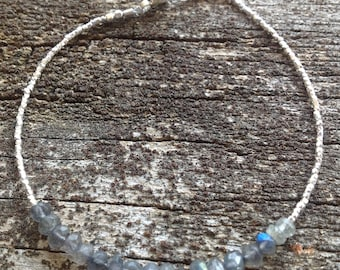 Fine Silver Faceted Cube and Labradorite Bracelet