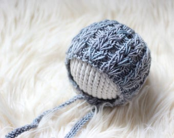Knit Baby Hat, Photography Prop, Newborn Baby Bonnet, Newborn Photo Prop, Knit Photo prop, Textured Bonnet