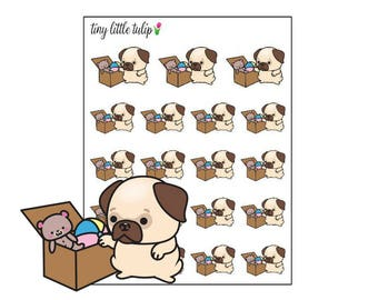 Planner Stickers Pug Picking Up Toys