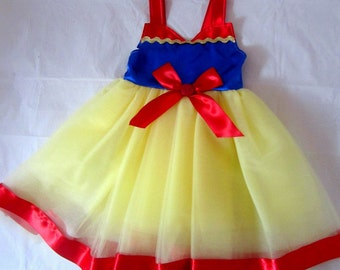 Princess Snow White Dress: lined red, blue and yellow tutu dress with sparkle, easy on and off, costume birthday party, princess dinner