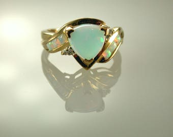14K Yellow Gold Opal Ring, October Birthstone