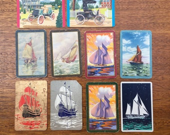 Assorted | Vintage | Sailing Ships | Automobiles | Swap Card | Playing Cards