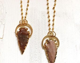 Jaspis Arrowhead Ring Kette, Pyrit Edelstein Halskette, Boho Gypsy Nomad Schmuck, gold filled, Pfeilspitze